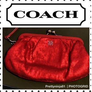 Coach Large Red Sequins Clutch Wristlet Kiss lock